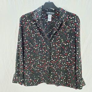 Women's Floral Button Front Black Size 8